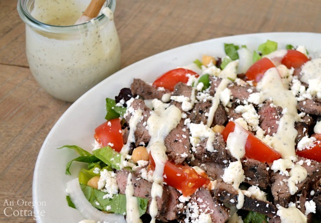 creamy garlic pepper salad dressing with salad