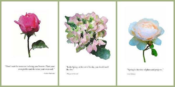3 garden quotes wall art printables