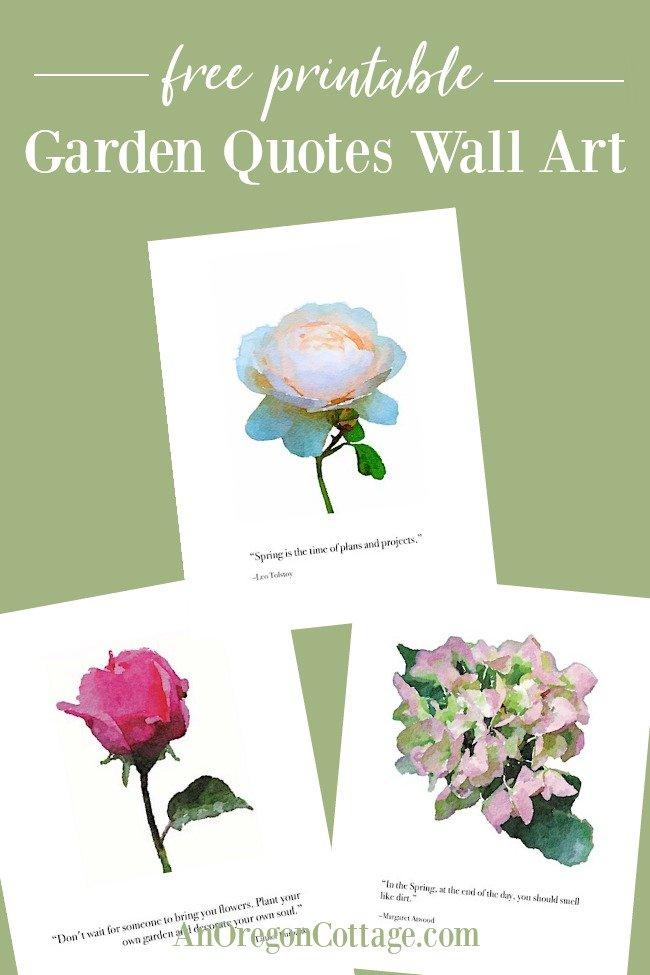 Free printable garden quotes wall art