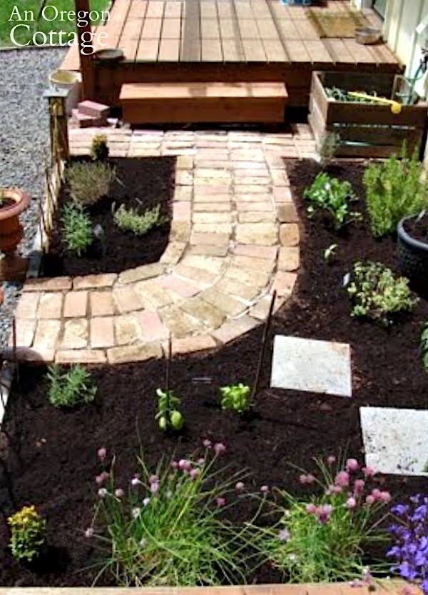Herb Garden and brick path
