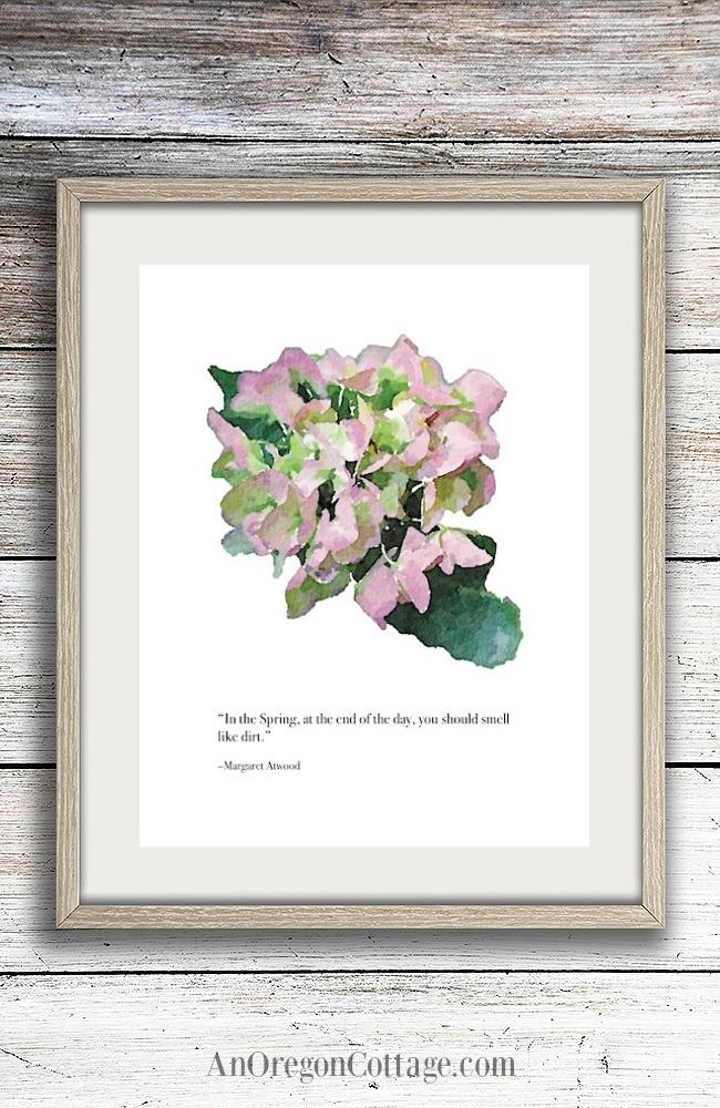 Hydrangea garden quote framed printable