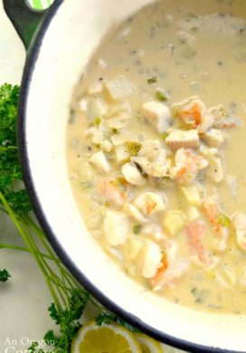 Seafood Chowder with Green Chilies in enamel stockpot
