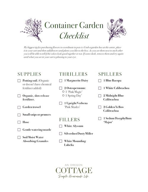 Plant and supplies printable checklist