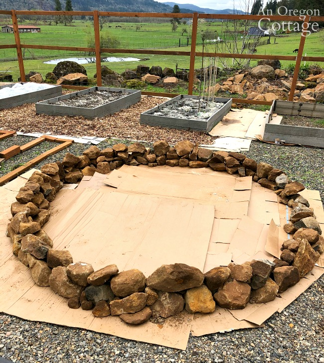 Building round rock raised bed