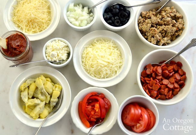 Individual Homemade Pizza toppings