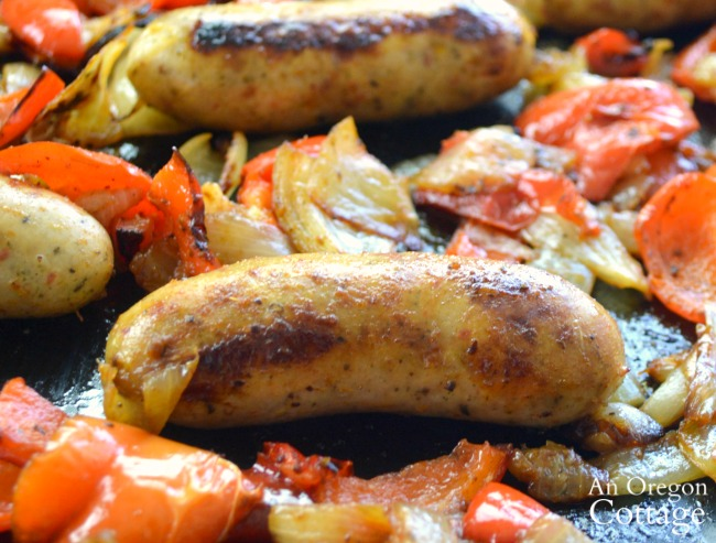 Roasted Sausages onions and peppers close
