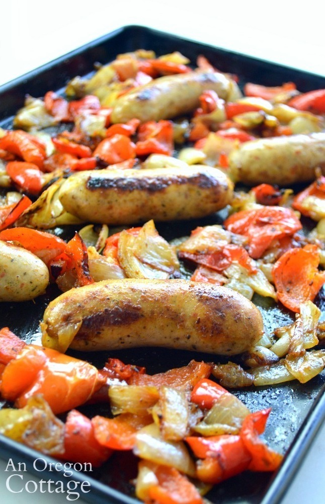 Roasted Sausages-onions-peppers