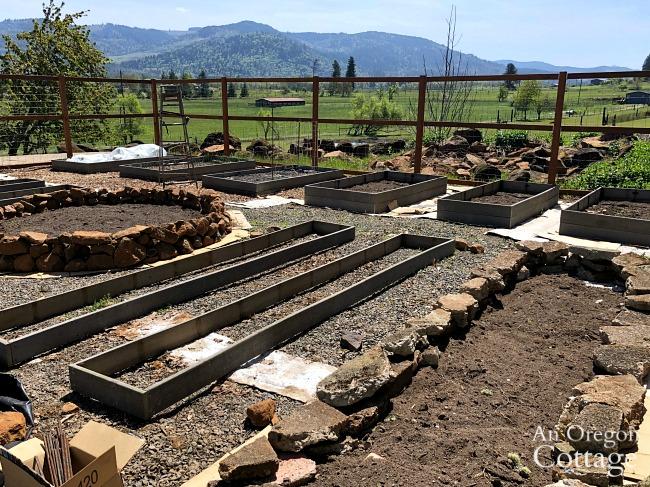 Vegetable garden raised bed progress