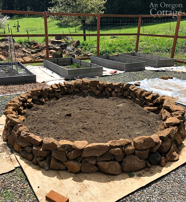 round rock raised bed with first layer soil
