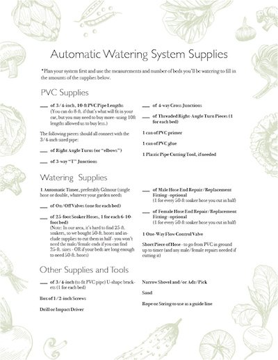DIY Garden Watering System Shopping List_