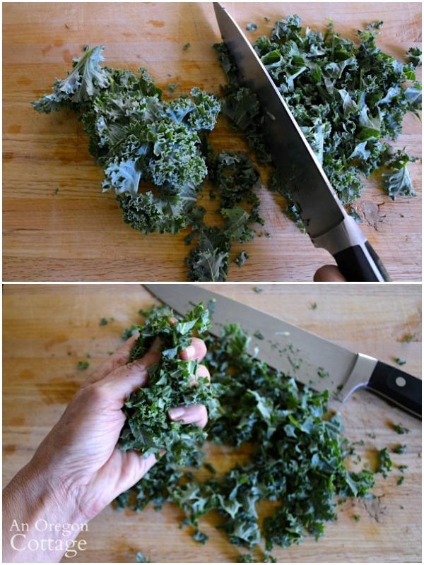 Prepping kale for salad