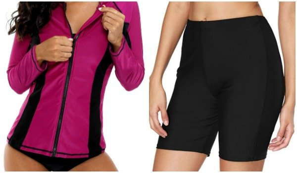 Swim shorts and zip rashguard