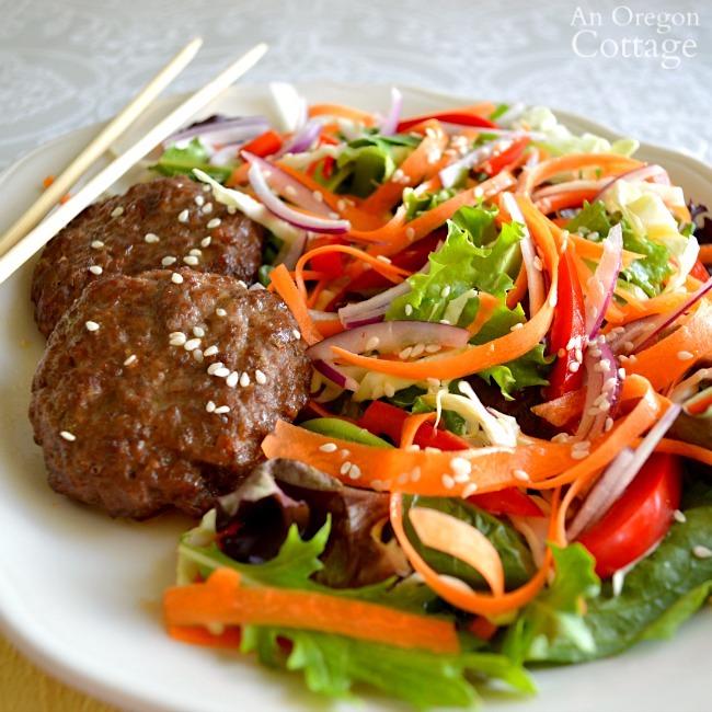 Thai grilled beef salad close