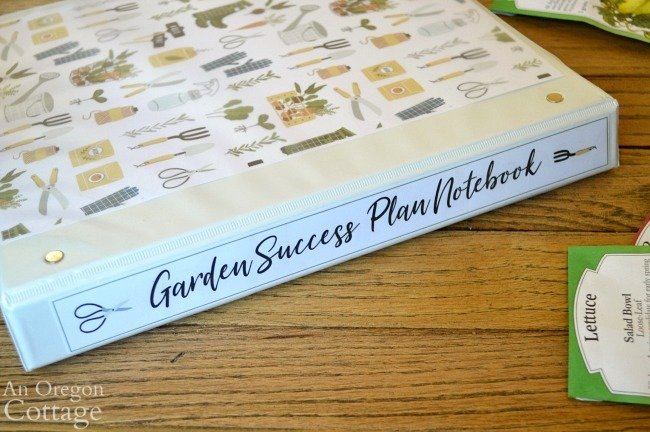 Back and spine of Garden Notebook