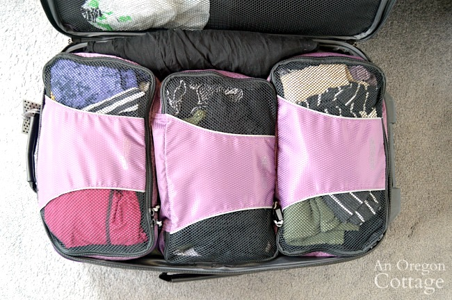 Warm vacation carryon packing cubes