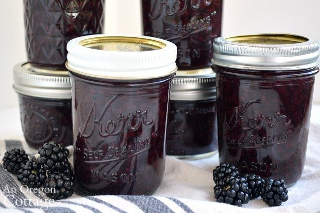 Canned Maple Blackberry Jam jars