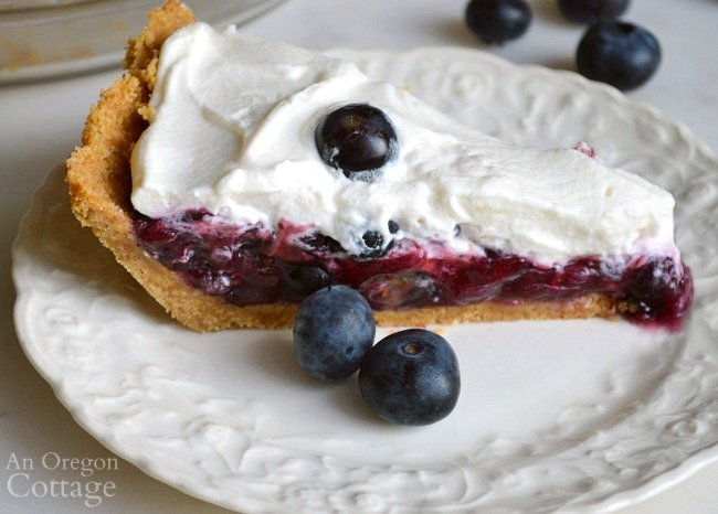 No Bake Blueberry pie piece on plate