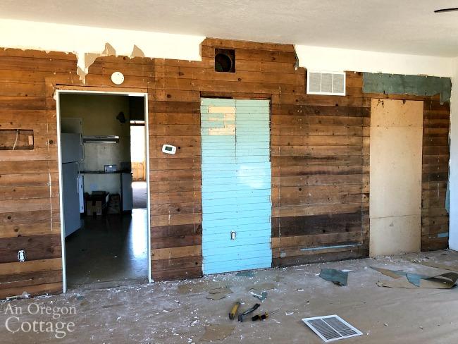 Farmhouse living room wall wood revealed