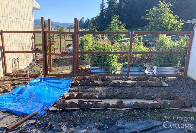 front of vegetable garden in progress