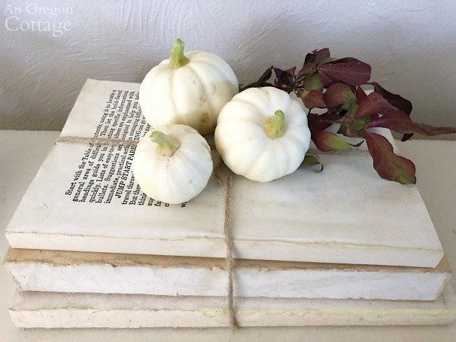 entry tiny pumpkins on book stack