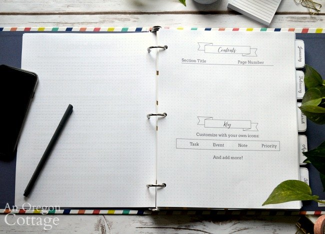 2020 Flexible Planner-contents page