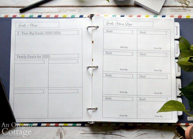 2020 Flexible Planner-goals pages