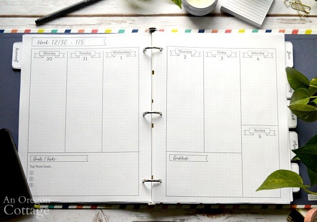 2020 Flexible Planner-weekly spread