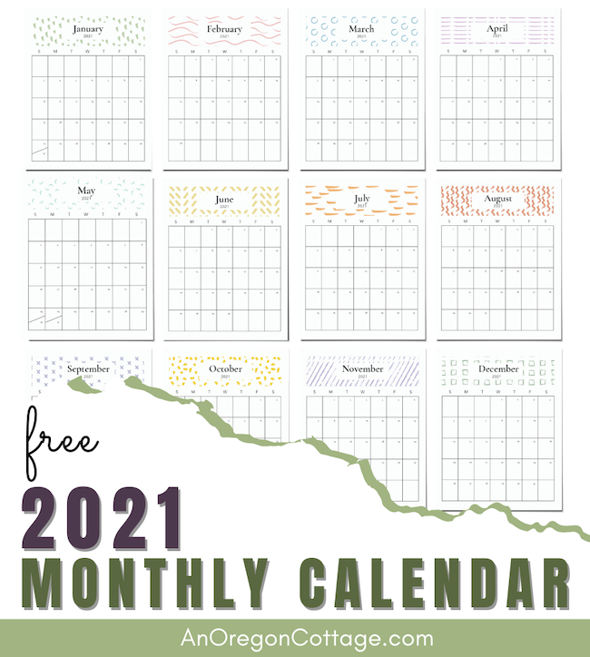 2021 Monthly Calendar graphic