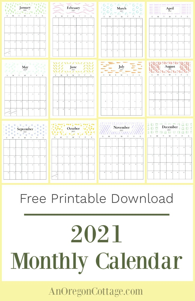 2021 printable monthly calendar-all pages