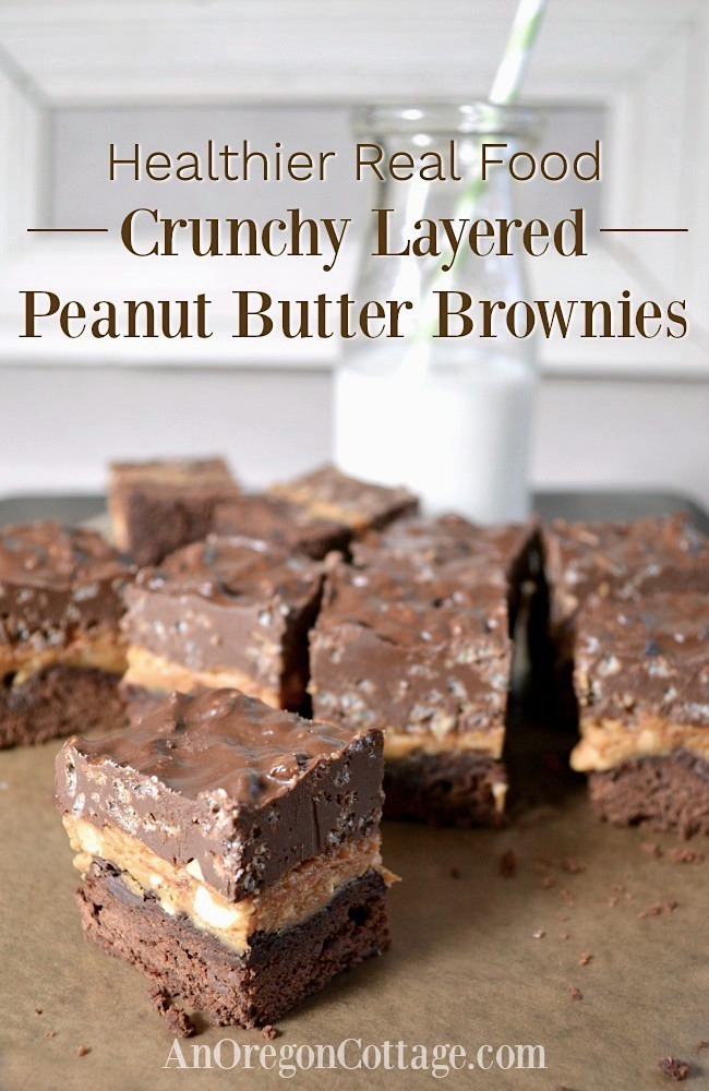 Healthy crunchy layered peanut butter brownies pin
