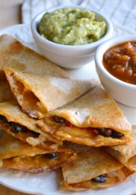 Black Bean Quesadillas on plate