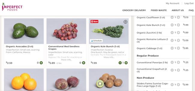 Customizing Imperfect Foods box screenshot