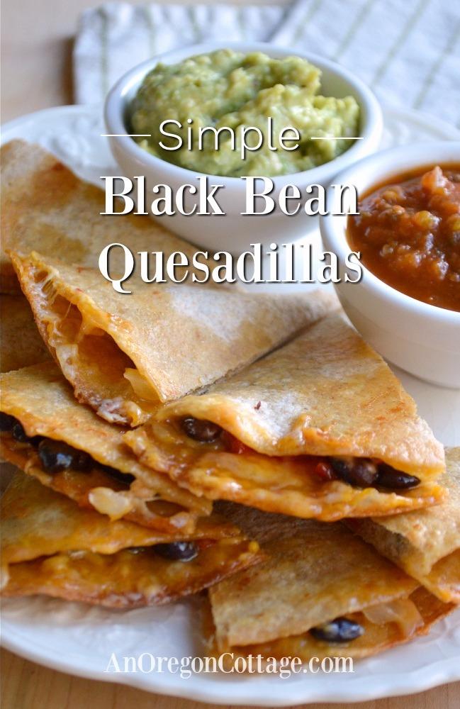 Simple Black Bean Quesadillas on plate