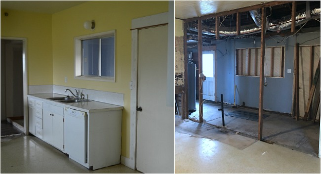 Farmhouse kitchen-porch wall before and demo