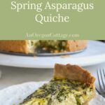 easy crust asparagus quiche piece on plate