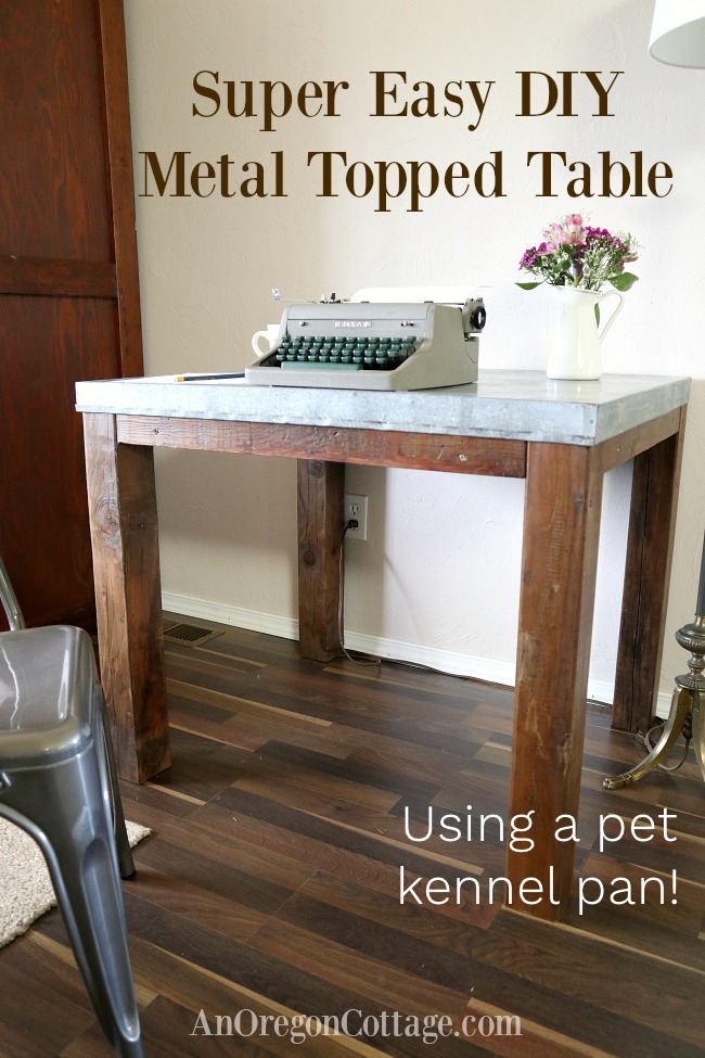 Easy DIY metal top farmhouse table