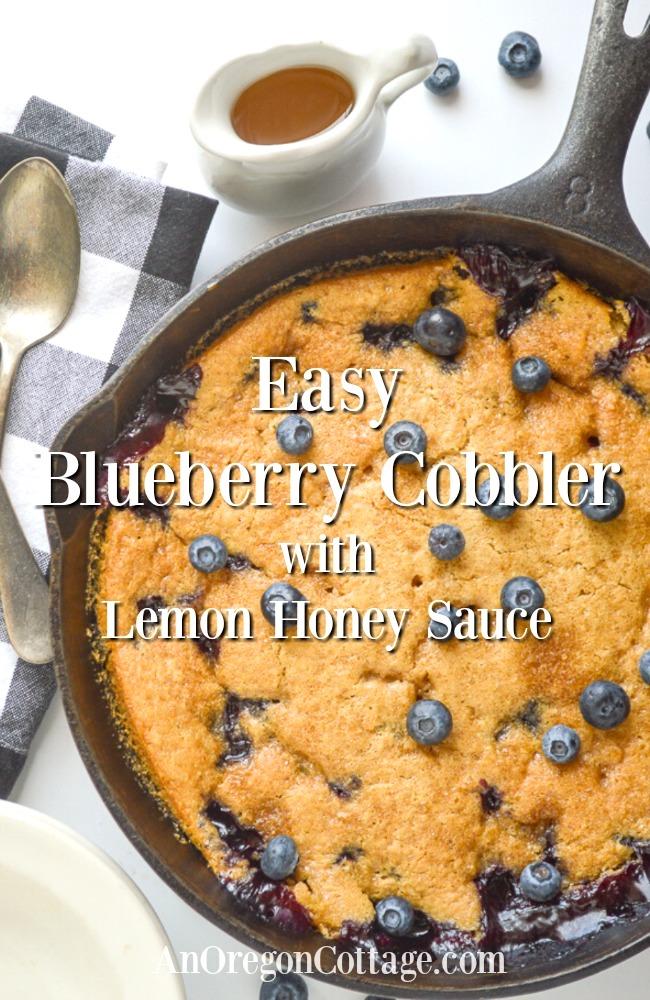 Easy blueberry cobbler with lemon honey sauce