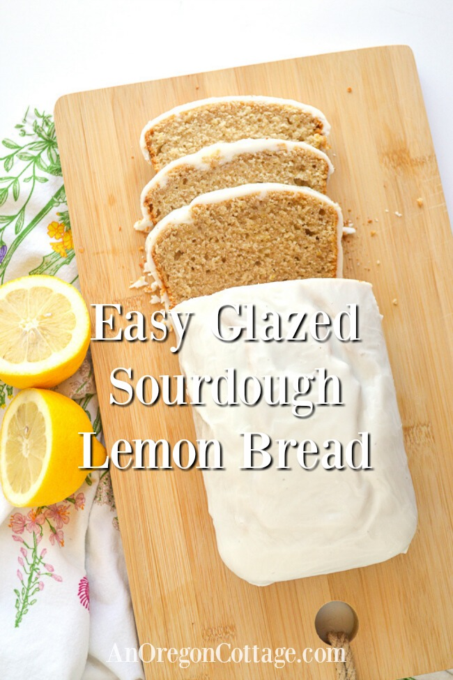 Easy glazed sourdough lemon bread