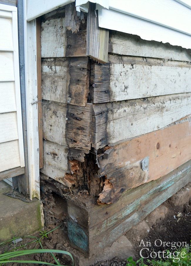 Farmhouse fixer dry rot corner beam