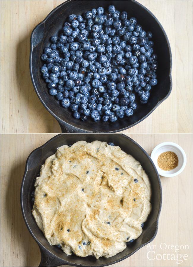 Making blueberry cobbler
