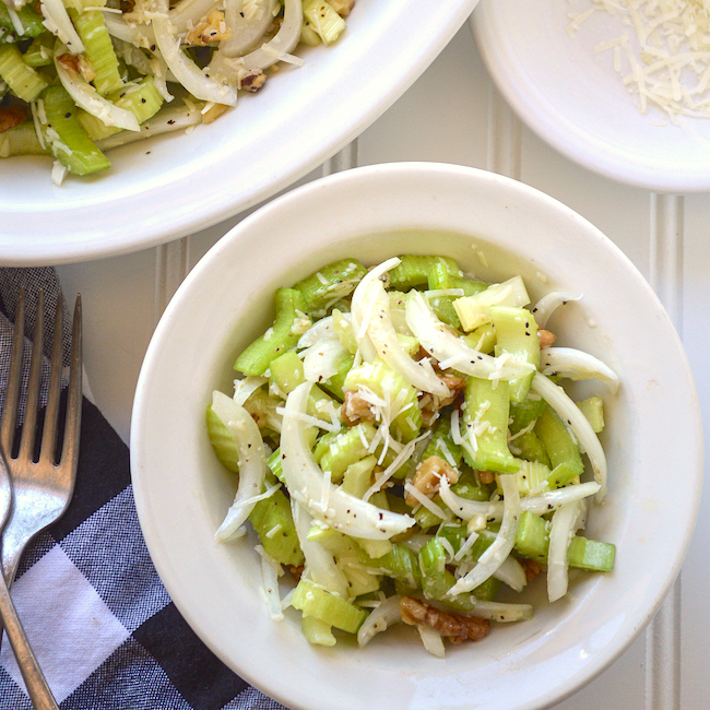 celery onion celery in bowl above