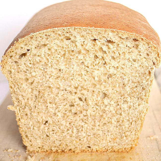 cut loaf of soft sourdough sandwich bread
