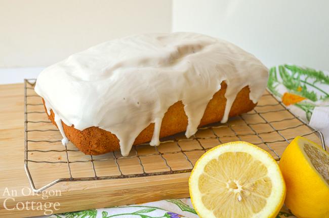 glazed sourdough lemon loaf on rack