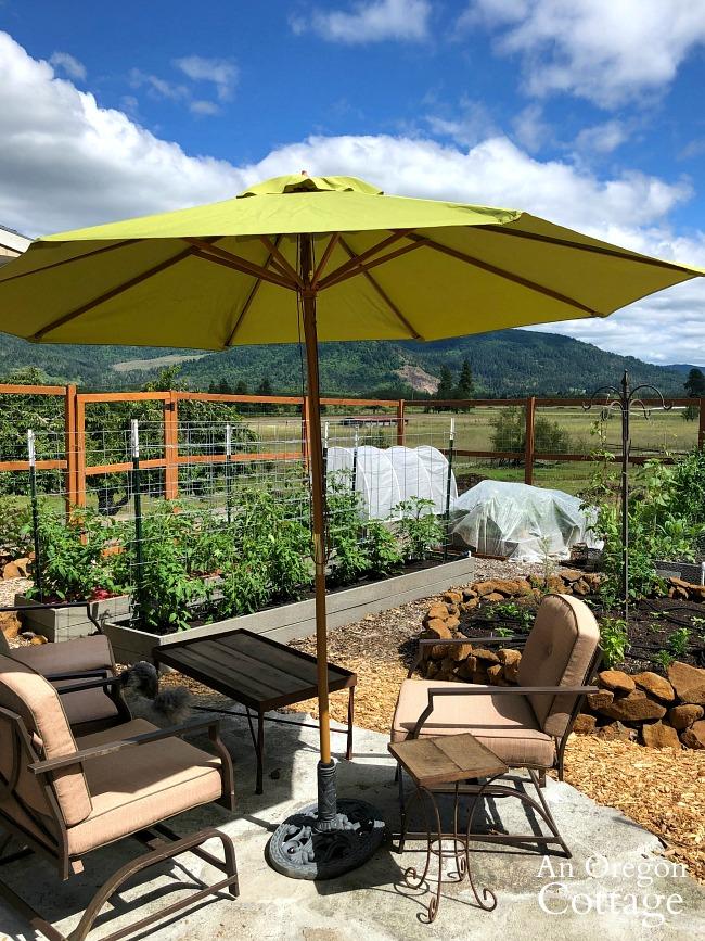 Broken concrete patio in raised bed vegetable garden
