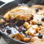 serving blueberry cobbler