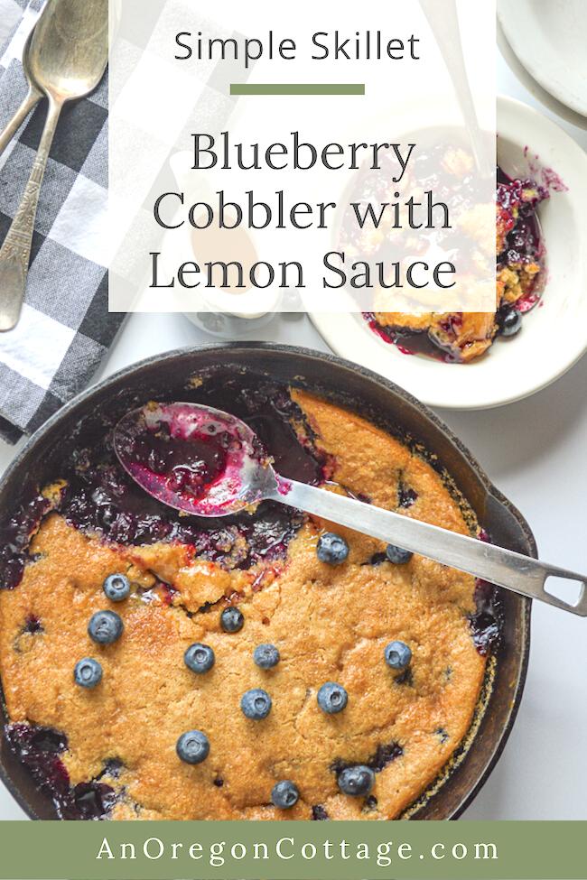 serving skillet blueberry cobbler in skillet
