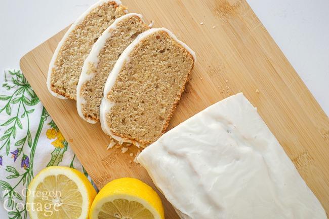 sliced sourdough lemon loaf above