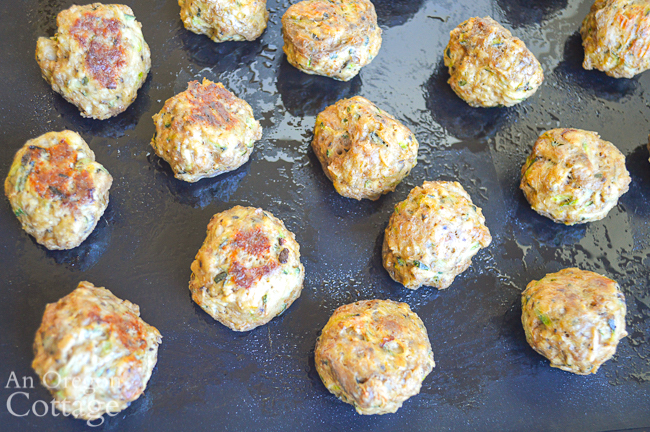 baked zucchini meatballs above