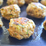cooked zucchini meatballs close
