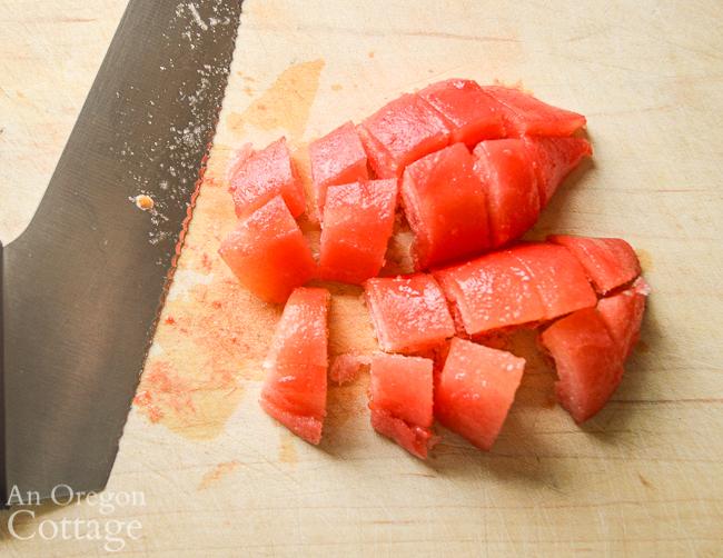dicing frozen tomato for recipe